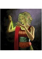 Colour card art - character: elf enchanter - RPG Stock Art