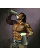 Colour card art - character: barbarian drinking - RPG Stock Art