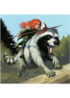Colour card art - character: gnome riding giant raccoon - RPG Stock Art