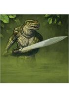 Colour card art - character: humanoid crocodile - RPG Stock Art