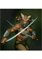 Colour card art - character: beastman warrior - RPG Stock Art
