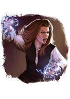 Filler spot colour - character: human mage: casting shock - RPG Stock Art