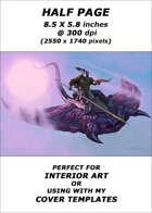Half page - Hobgoblin riding Fungasaur: crossbow version - RPG Stock Art