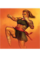 Colour card art - character: dwarf martial arts brawler - RPG Stock Art