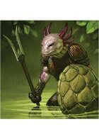 Colour card art - character: humanoid axolotl - RPG Stock Art