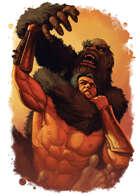 Filler spot colour - character: apeman vs barbarian - RPG Stock Art