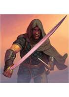 Colour card art - character: adventurer with sword & dagger - RPG Stock Art