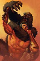 Quarter page - apeman vs barbarian - RPG Stock Art