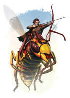 Filler spot colour - character: halfling wasp rider - RPG Stock Art