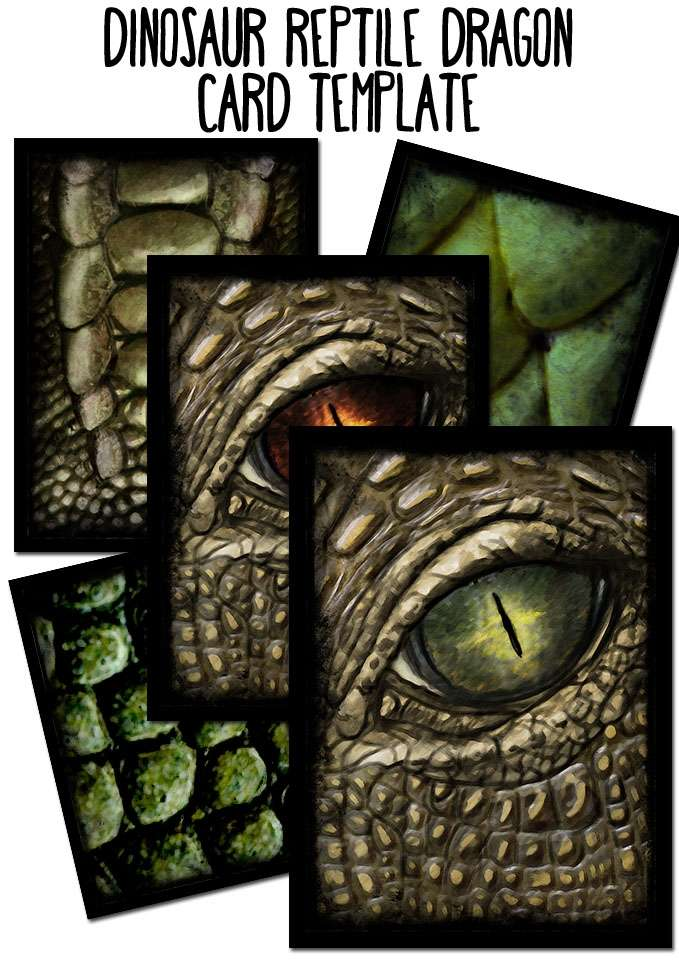 Cards template, Dinosaur Reptile Dragon with transparent window