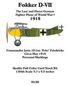 Fokker D-VII Fritz Friedrichs May 1918