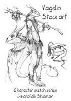 Character stock sketch series: Lizardfolk Shaman
