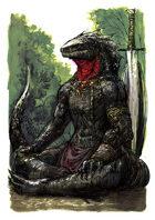 Vagelio Kaliva - Stock character watercolour Illustration - Meditating Lizardfolk