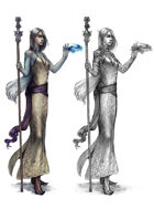 Character stock sketch and color series: Elf wizard
