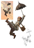 Character stock sketch and color series: Halfling artificer