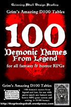 100 Demonic Names from legend for all fantasy & horror RPGs