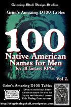 100 Native American Names for Men Volume 2, for all fantasy RPGs