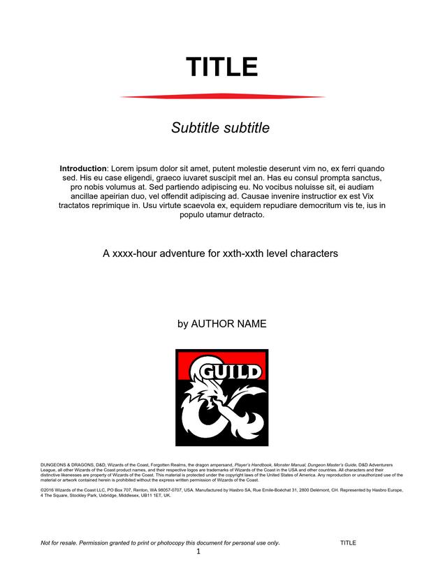 DMs Guild Creator Resource - Adventure Template