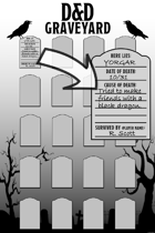 D&D Graveyard Poster (24x36) and Tombstones