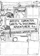 Artistic Character Sheet for the Discerning Adventurer (Armoured Warrior pg.1)