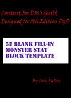 Blank Fillable 5e Monster Stat Block Table