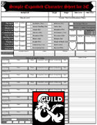 Simple Expanded Character Sheet for 5E