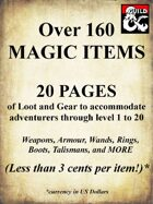 160+ Magic Items - 20 pages of arcane loot and gear for characters of all power levels