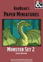 Monster Set 2 Green Dragon - KooBear's Paper Miniatures