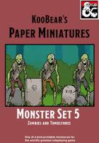 Monster Set 5 Zombies and Tombstones - KooBear's Paper Miniatures