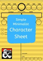 Simple Minimalist Character Sheets - for new and young players