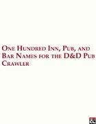 One Hundred Inn, Pub, and Bar Names for the D&D Pub Crawler