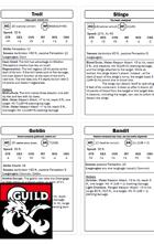 Waterdeep Dragon Heist Chapter 1 NPC Cards