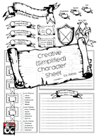 Creative Simplified Character Sheet - A4
