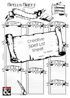 Creative Spell List Sheet - A4