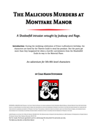 The Malicious Murders at Montfare Manor