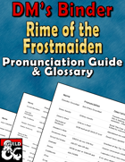 DM's Binder - Pronunciation Guide & Glossary - Rime of the Frostmaiden