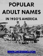 Popular Adult Names  in 1930's America