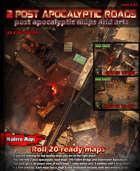 2 Huge Post-apocalyptic Road Maps & arts set