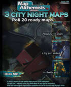 3 City nights Battle-Maps for Roll 20 and printing with 3d player views