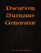 Dwarven Surname Generator