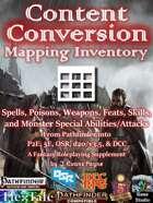 Content Conversion Mapping Inventory (Pathfinder / 5E / P2E / OSR / DCC / d20 3.5)
