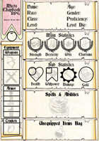 Micro Chapbook RPG: Full Page Character Sheet