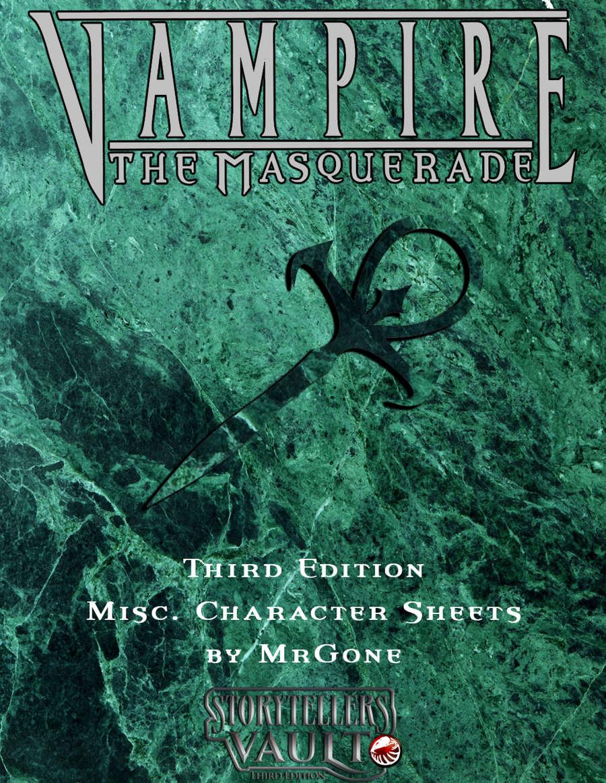 Mrgones Vampire The Masquerade Third Edition Misc Character Sheets