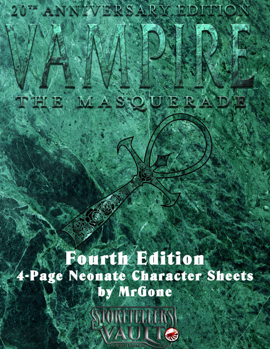 MrGone's Vampire the Masquerade Fourth Edition Neonate 4-Page Character Sheets