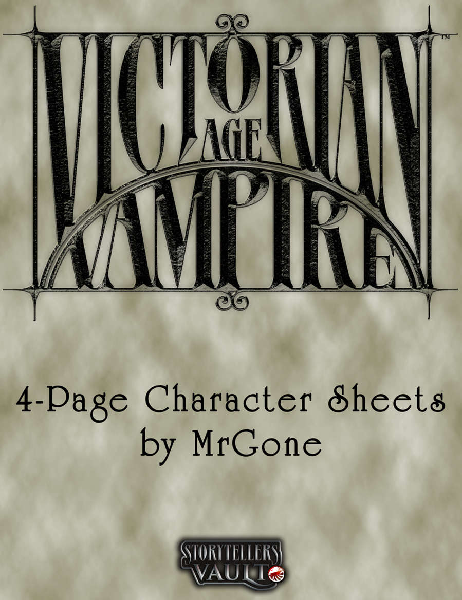 Mrgones Victorian Age Vampire 4 Page Character Sheets White Wolf
