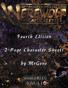 MrGone's Werewolf The Apocalypse Fouth Edition 2-Page Character Sheets