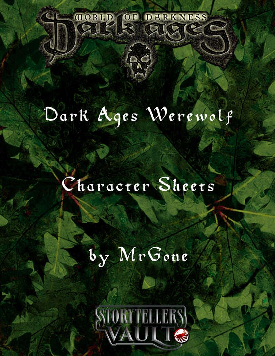 Mrgones Dark Ages Werewolf Character Sheets White Wolf