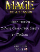MrGone's Mage The Ascension Third Edition 2-Page Character Sheets