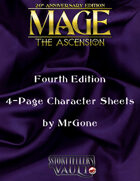 MrGone's Mage The Ascension Fourth Edition 4-Page Character Sheets