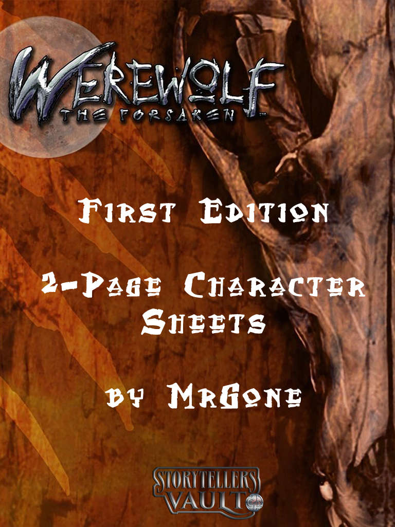 Mrgones Werewolf The Forsaken First Edition 2 Page Character Sheets